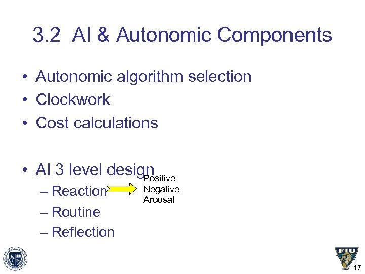 3. 2 AI & Autonomic Components • Autonomic algorithm selection • Clockwork • Cost