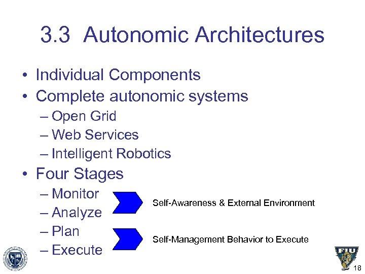 3. 3 Autonomic Architectures • Individual Components • Complete autonomic systems – Open Grid