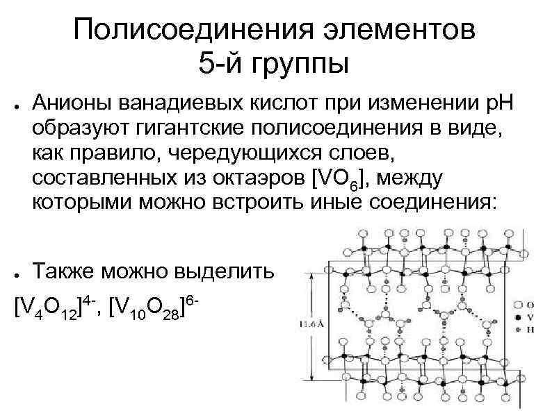 Полисоединения элементов 5 -й группы ● ● Анионы ванадиевых кислот при изменении р. Н