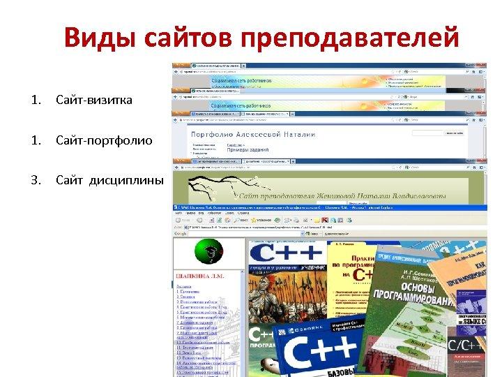 Виды сайтов преподавателей 1. Сайт-визитка 1. Сайт-портфолио 3. Сайт дисциплины