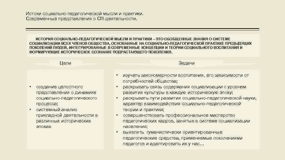 Истоки социально-педагогической мысли и практики. Современные представления о СП-деятельности. ИСТОРИЯ СОЦИАЛЬНО-ПЕДАГОГИЧЕСКОЙ МЫСЛИ И ПРАКТИКИ