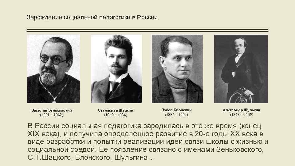 Зарождение социальной педагогики в России. Василий Зеньковский (1881 – 1962) Станислав Шацкий (1878 –