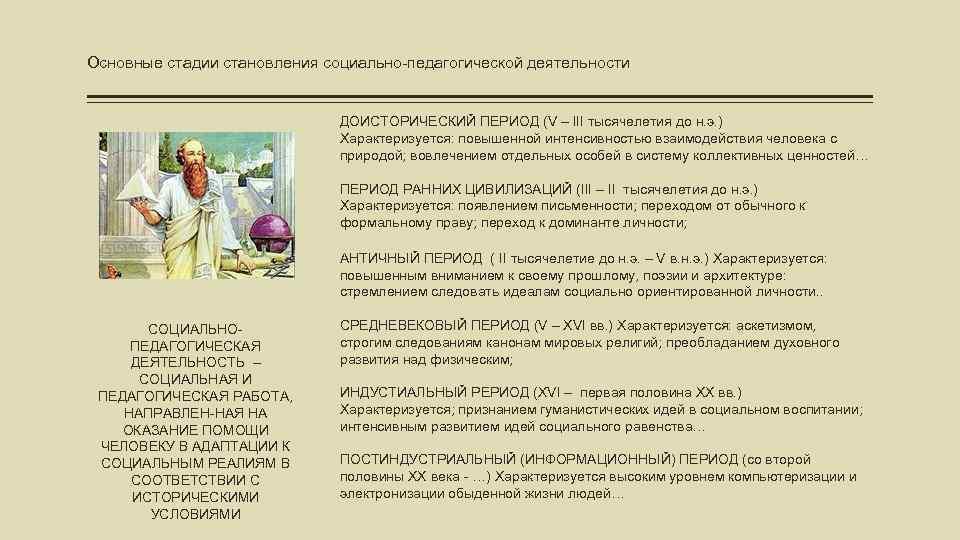 Основные стадии становления социально-педагогической деятельности ДОИСТОРИЧЕСКИЙ ПЕРИОД (V – III тысячелетия до н. э.