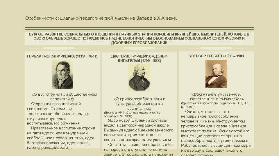 Особенности социально-педагогической мысли на Западе в XIX веке. БУРНОЕ РАЗВИТИЕ СОЦИАЛЬНЫХ ОТНОШЕНИЙ И НАУЧНЫХ