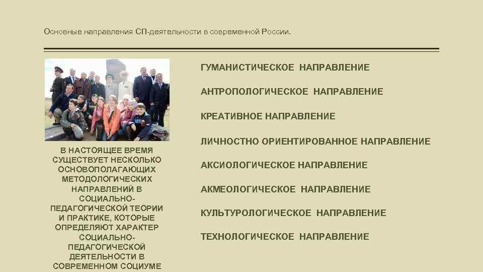 Основные направления СП-деятельности в современной России. ГУМАНИСТИЧЕСКОЕ НАПРАВЛЕНИЕ АНТРОПОЛОГИЧЕСКОЕ НАПРАВЛЕНИЕ КРЕАТИВНОЕ НАПРАВЛЕНИЕ В НАСТОЯЩЕЕ