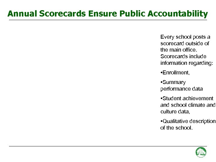 Annual Scorecards Ensure Public Accountability Every school posts a scorecard outside of the main