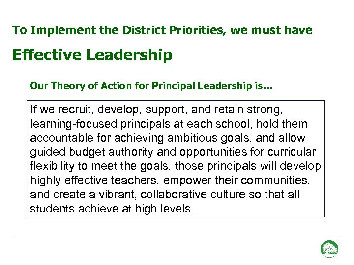 To Implement the District Priorities, we must have Effective Leadership Our Theory of Action