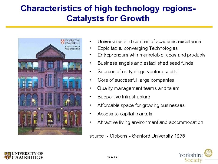 Characteristics of high technology regions. Catalysts for Growth • • • Universities and centres