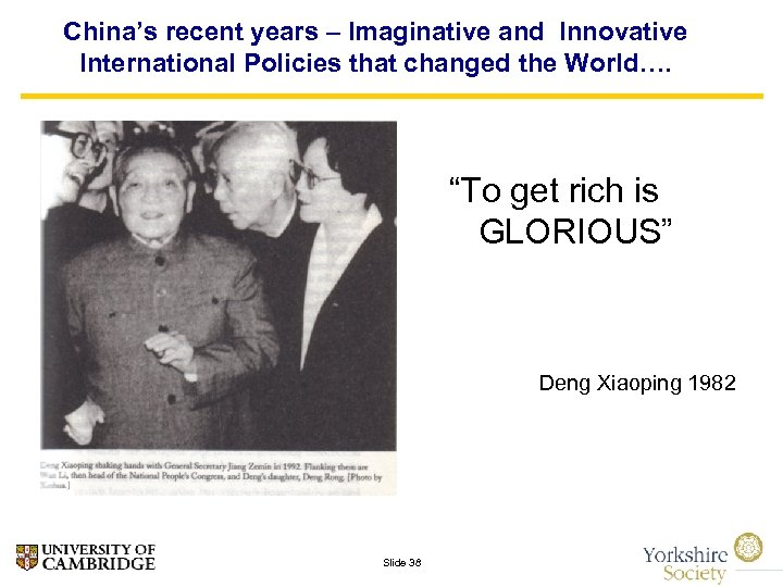 """China's recent years – Imaginative and Innovative International Policies that changed the World…. """"To"""