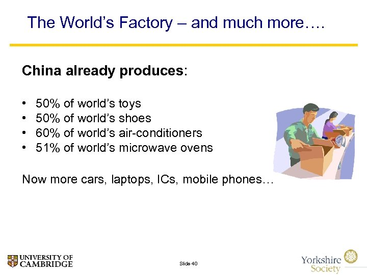 The World's Factory – and much more…. China already produces: • • 50% of