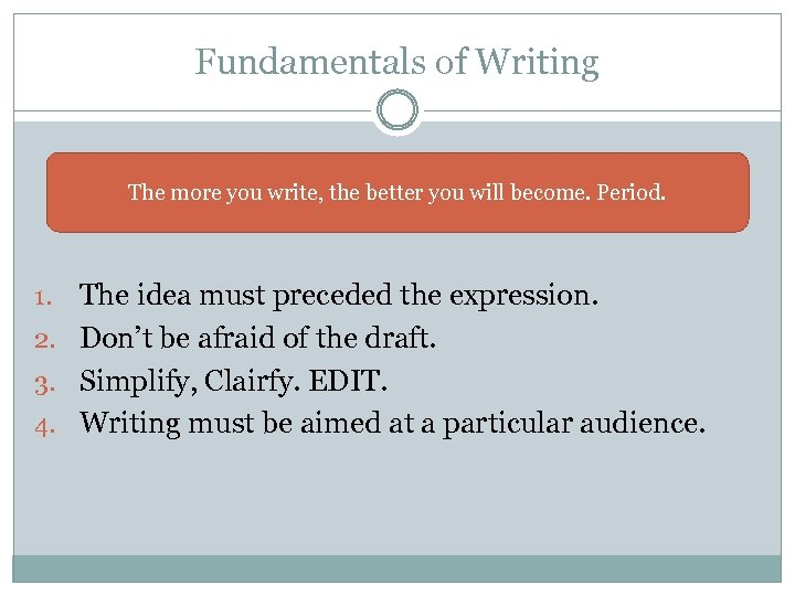 Fundamentals of Writing The more you write, the better you will become. Period. The