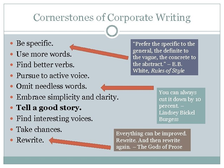 "Cornerstones of Corporate Writing Be specific. ""Prefer the specific to the general, the definite"