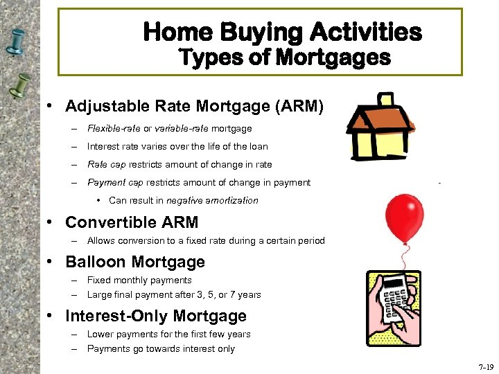 Home Buying Activities Types of Mortgages • Adjustable Rate Mortgage (ARM) – Flexible-rate or