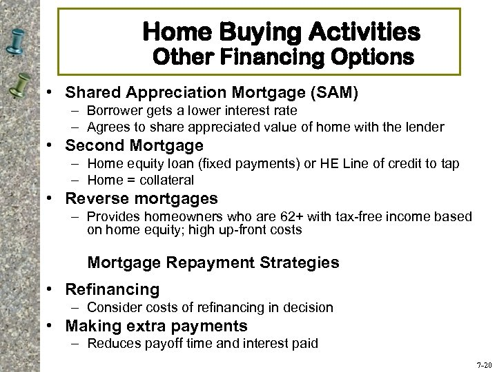 Home Buying Activities Other Financing Options • Shared Appreciation Mortgage (SAM) – Borrower gets