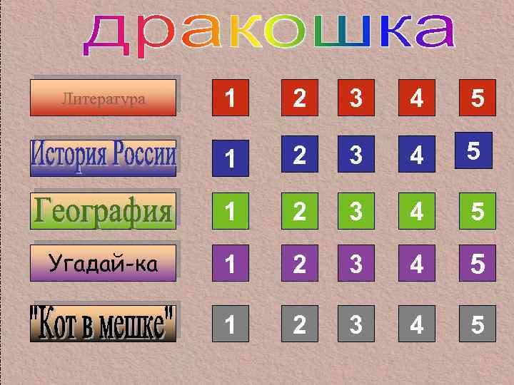 2 3 4 5 1 Угадай-ка 1 1 Литература 2 3 4 5 1