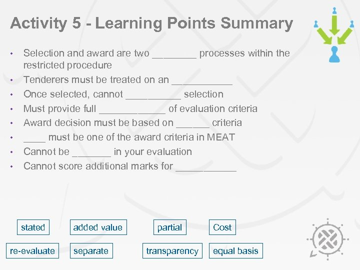 Activity 5 - Learning Points Summary • • Selection and award are two ____