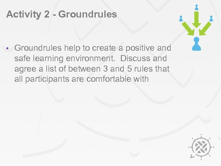 Activity 2 - Groundrules • Groundrules help to create a positive and safe learning