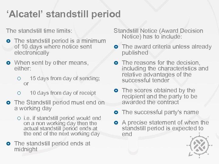 'Alcatel' standstill period The standstill time limits: Standstill Notice (Award Decision Notice) has to