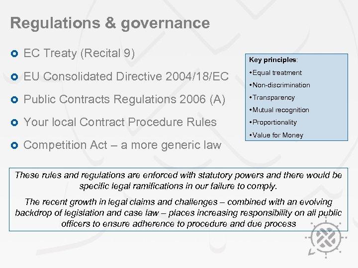 Regulations & governance £ EC Treaty (Recital 9) £ EU Consolidated Directive 2004/18/EC •