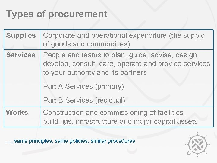 Types of procurement Supplies Corporate and operational expenditure (the supply of goods and commodities)