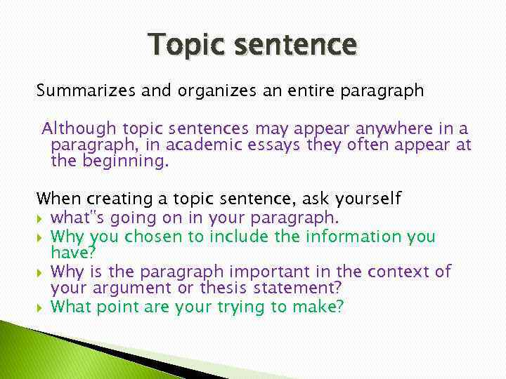 how to make a strong topic sentence