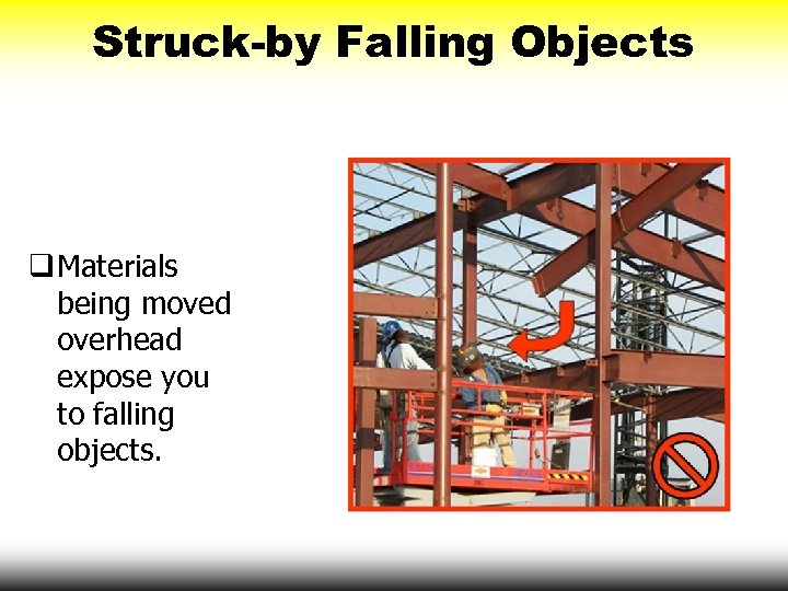 Struck-by Falling Objects q Materials being moved overhead expose you to falling objects.