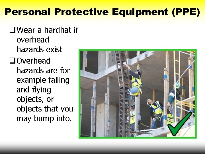 Personal Protective Equipment (PPE) q Wear a hardhat if overhead hazards exist q Overhead