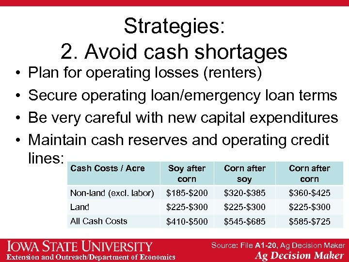 Strategies: 2. Avoid cash shortages • • Plan for operating losses (renters) Secure operating