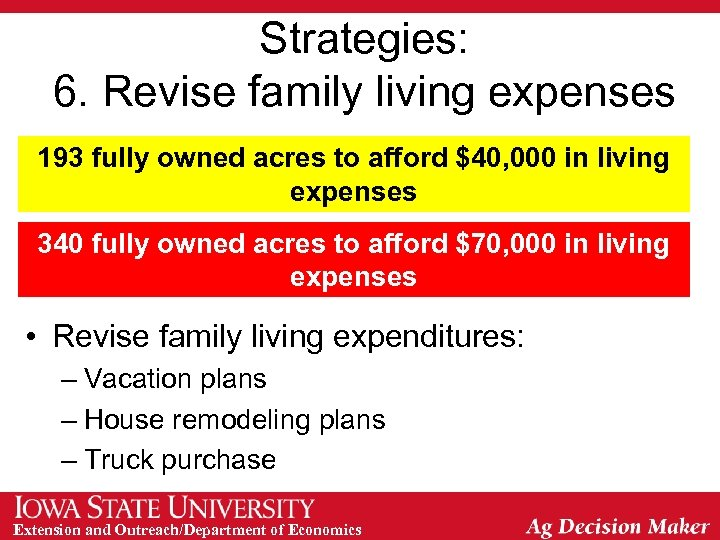 Strategies: 6. Revise family living expenses 193 fully owned acres to afford $40, 000
