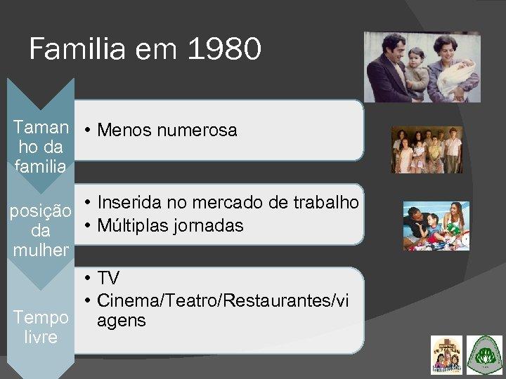 Familia em 1980 Taman • Menos numerosa ho da familia posição • Inserida no