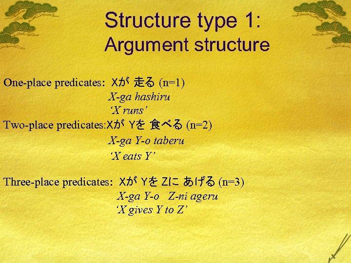 Structure type 1: Argument structure One-place predicates: Xが 走る (n=1) X-ga hashiru 'X runs'