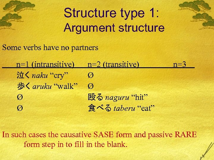 Structure type 1: Argument structure Some verbs have no partners n=1 (intransitive) 泣く naku