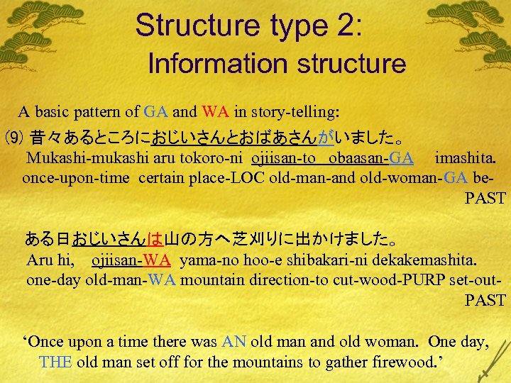 Structure type 2: Information structure A basic pattern of GA and WA in story-telling: