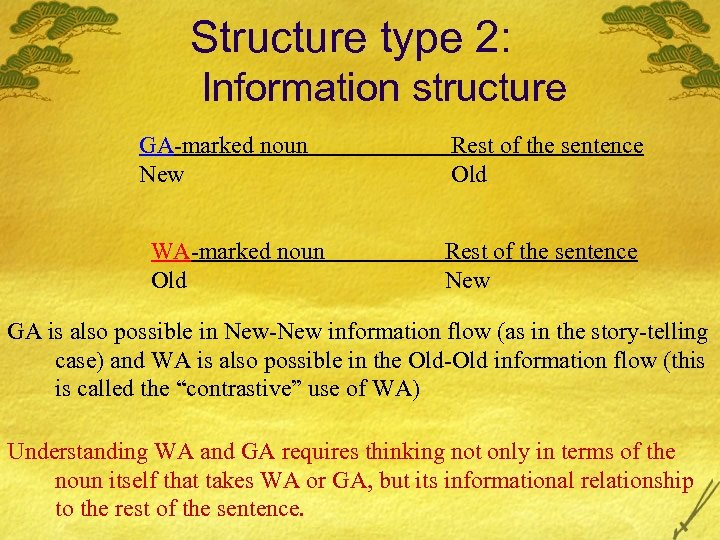 Structure type 2: Information structure GA-marked noun New WA-marked noun Old Rest of the
