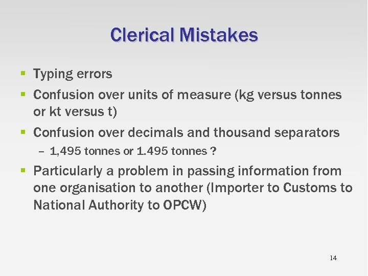 Clerical Mistakes § Typing errors § Confusion over units of measure (kg versus tonnes