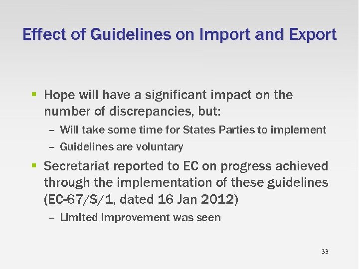 Effect of Guidelines on Import and Export § Hope will have a significant impact