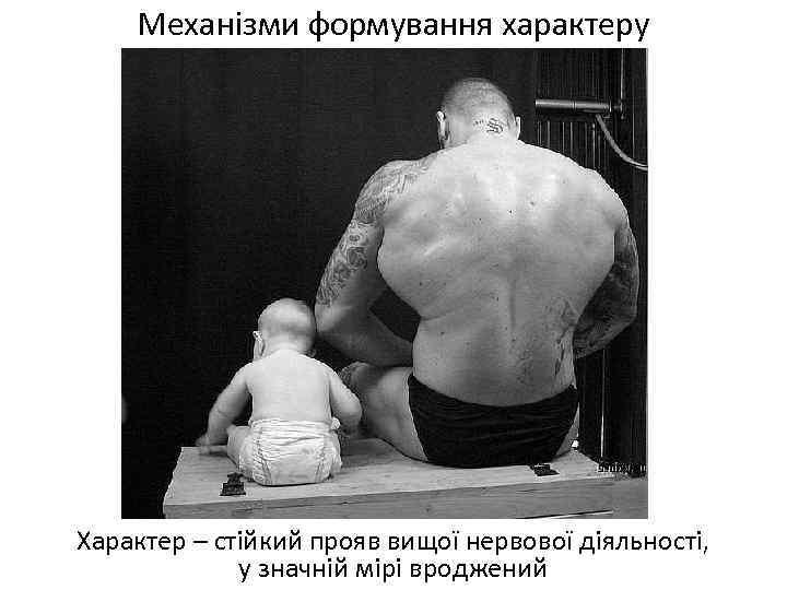 Механізми формування характеру Характер – стійкий прояв вищої нервової діяльності, у значній мірі вроджений
