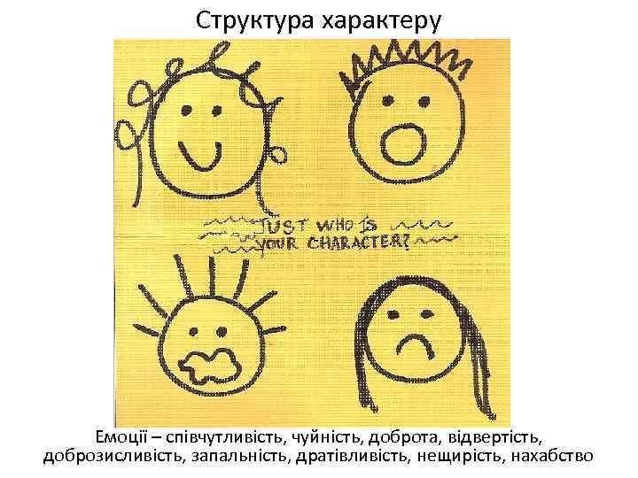 Структура характеру Емоції – співчутливість, чуйність, доброта, відвертість, доброзисливість, запальність, дратівливість, нещирість, нахабство
