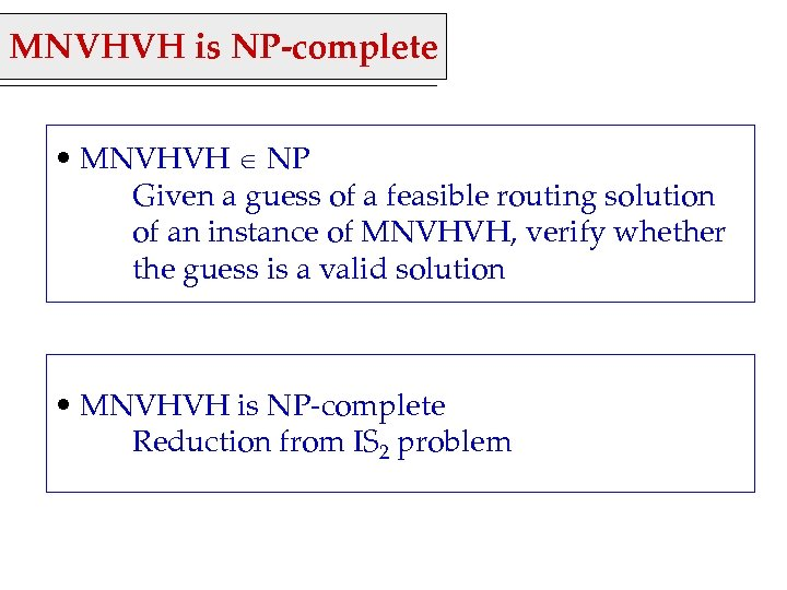 MNVHVH is NP-complete • MNVHVH NP Given a guess of a feasible routing solution