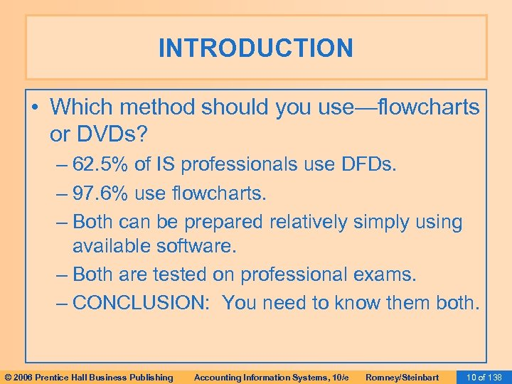 INTRODUCTION • Which method should you use—flowcharts or DVDs? – 62. 5% of IS