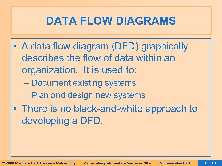 DATA FLOW DIAGRAMS • A data flow diagram (DFD) graphically describes the flow of