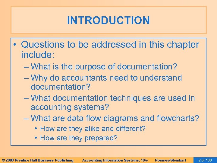 INTRODUCTION • Questions to be addressed in this chapter include: – What is the