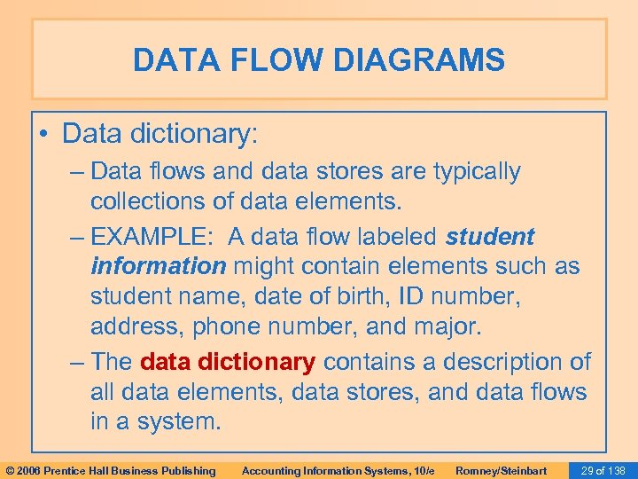 DATA FLOW DIAGRAMS • Data dictionary: – Data flows and data stores are typically