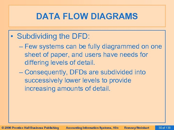 DATA FLOW DIAGRAMS • Subdividing the DFD: – Few systems can be fully diagrammed