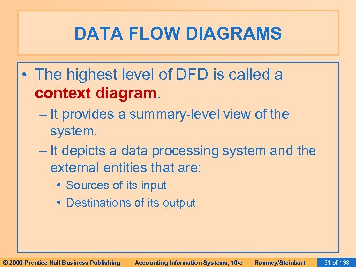 DATA FLOW DIAGRAMS • The highest level of DFD is called a context diagram.