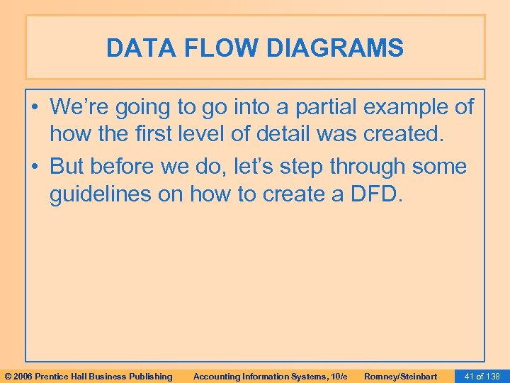 DATA FLOW DIAGRAMS • We're going to go into a partial example of how
