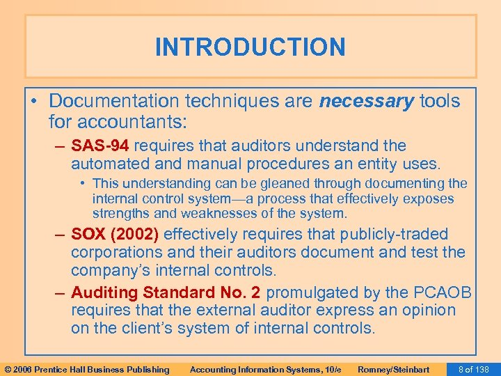 INTRODUCTION • Documentation techniques are necessary tools for accountants: – SAS-94 requires that auditors