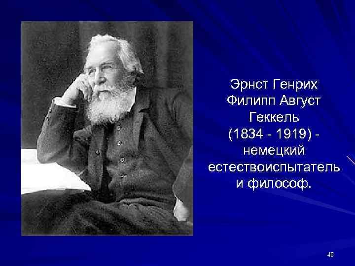 Эрнст Генрих Филипп Август Геккель (1834 - 1919) немецкий естествоиспытатель и философ. 40