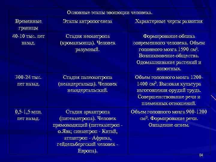 Основные этапы эволюции человека. Временные границы Этапы антропогенеза Характерные черты развития 40 -10 тыс.