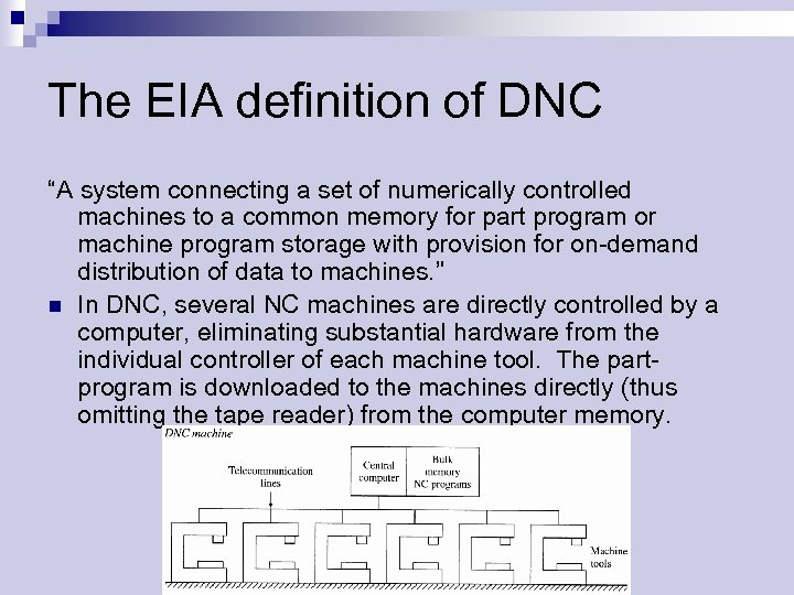 "The EIA definition of DNC ""A system connecting a set of numerically controlled machines"